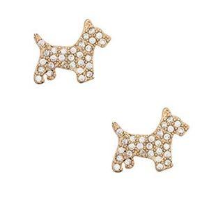 Kate Spade Scottie Terrier Dog Pave Stud Earrings